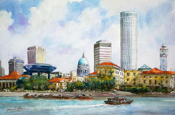 Singapore Riverbank Painting by Marvin Chew