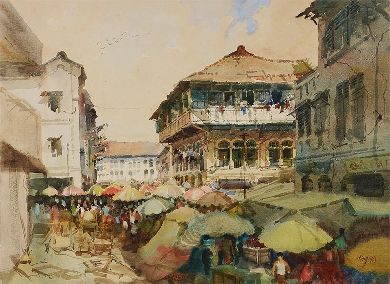 Old Singapore Watercolor Painting