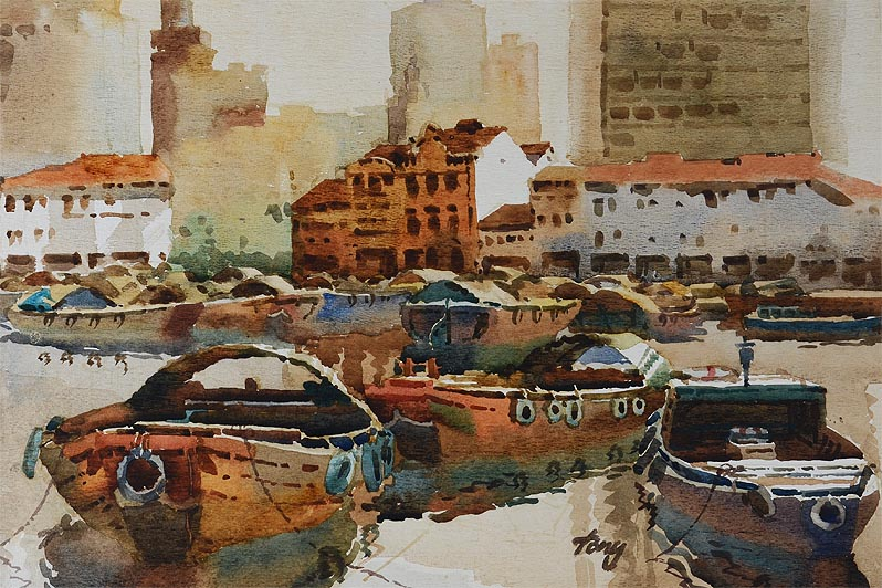 Singapore Chinatown 1980s, Watercolor Painting by 2nd Generation Artist Tong Chin Sye