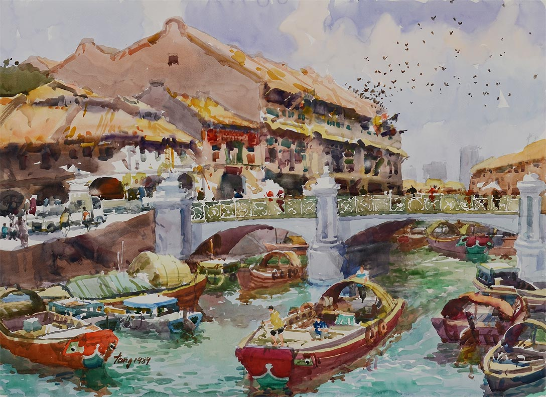 Old Singapore River by 2nd Generation Artist Tong Chin Sye