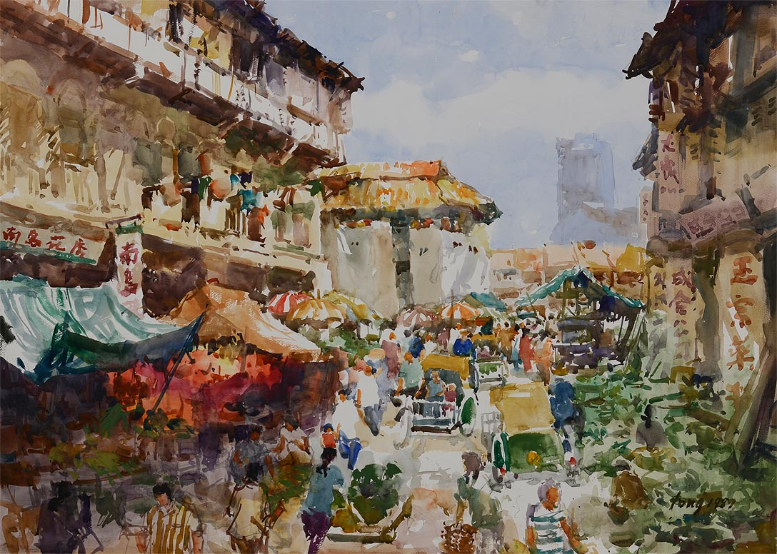 Singapore Chinatown 1987 by Singapore Watercolour Society Master Artist Tong Chin Sye