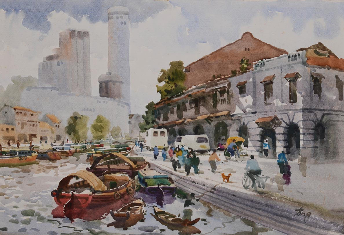 temple street old Singapore Chinatown Watercolour by 2nd Generation Artist Tong Chin Sye